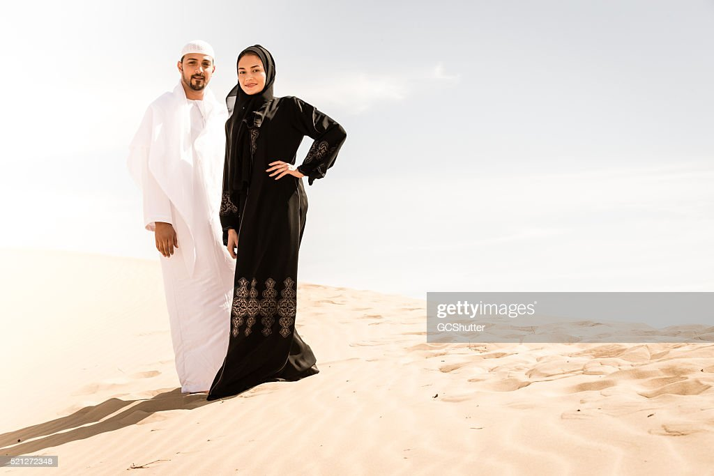 Arab Couple in the Desert : Stock Photo