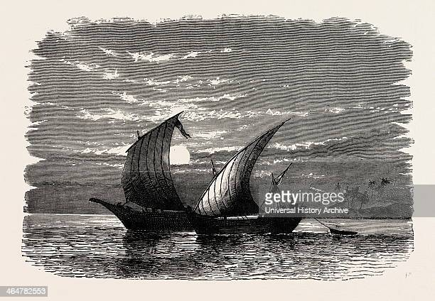 Arab Dhows On The Red Sea Dhow Is The Generic Name Of A Number Of Traditional Sailing Vessels With One Or More Masts With Lateen Sails Used In The...