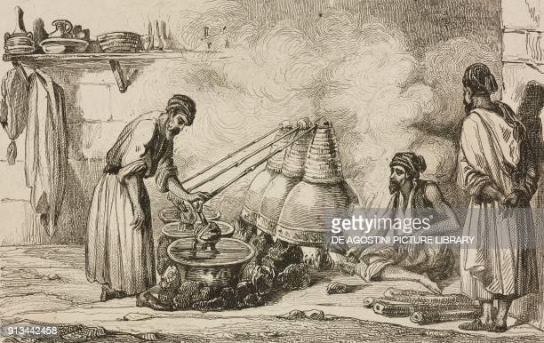 Arab distillery engraving by Vernier and Choillot from Arabie by Noel Desvergers avec une carte de l'Arabie et note by Jomard L'Univers pittoresque...