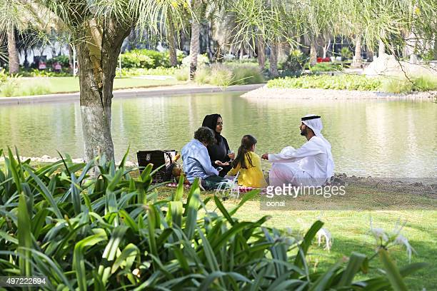 arab family enjoying their leisure time in picnic - bahrain stock pictures, royalty-free photos & images