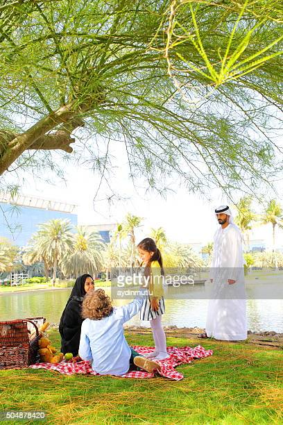 Arab family on picnic outdoors