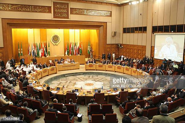 Arab foreign ministers attend a meeting to select a new secretary general of the Arab League at the institution's headquarters in Cairo on May 15...