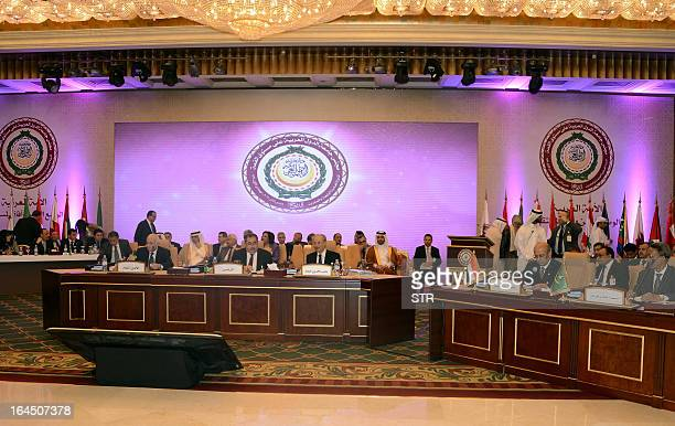 Arab foreign ministers attend a preparatory meeting in the Qatari capital Doha on March 24 2013 ahead of the annual Arab League summit Qatar the...