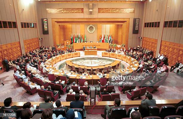 Arab foreign ministers meet at the Arab League November 10 2002 in Cairo Egypt The ministers were meeting to discuss the new United Nations...