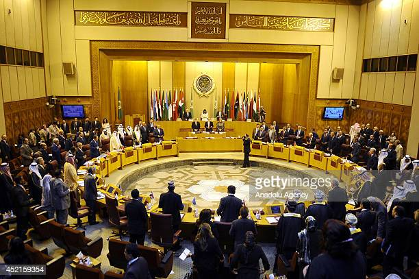 Arab foreign ministers meet in Cairo to discuss the escalating Israeli air operations on Gaza in Cario Egypt on July 14 2014