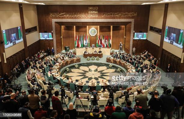 Arab Foreign Ministers take part in their 153rd annual session at the Arab League headquarters in the Egyptian capital Cairo on March 4 2020
