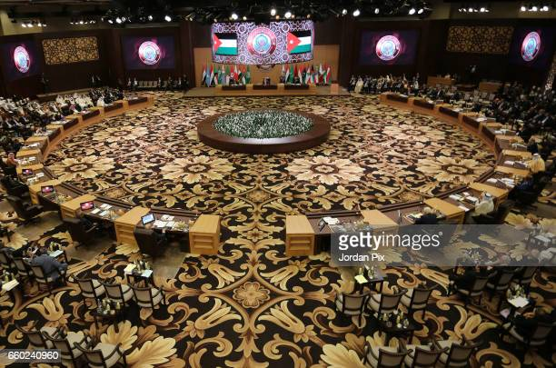 Arab leaders and delegates attend the Arab League summit in the Jordanian Dead Sea on March 29 2017 in Sweymah Jordan