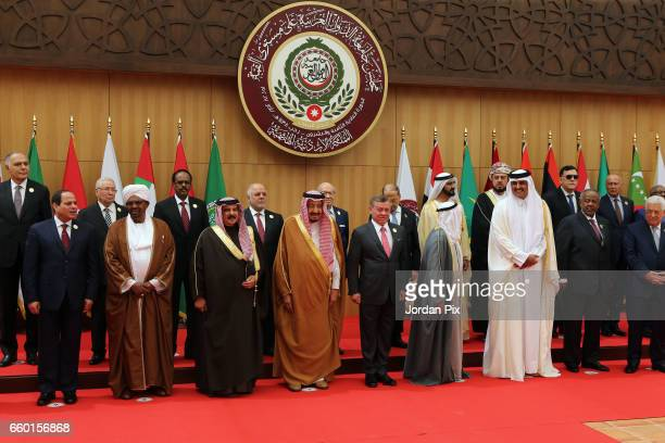Arab leaders pose for a group photo during the Arab League summit in the Jordanian Dead Sea resort of Sweymah Jordan March 29 2017 Arab leaders are...