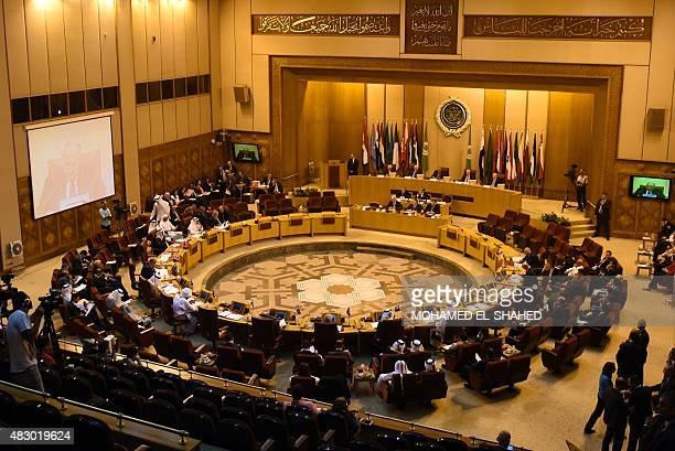 Arab League foreign ministers attend a meeting in the Egyptian capital Cairo on August 5 2015 Fifteen Arab League foreign ministers met in Cairo to...