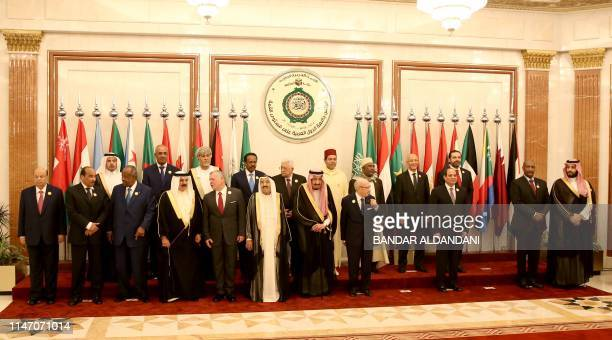 Arab League leaders are posing for a family picture ahead of the extraordinary Arab summit held at alSafa Royal Palace in Mecca on May 31 2019 Arab...