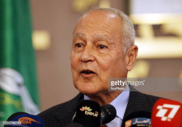 Arab League Secretary General Ahmed Aboul Gheit speaks during a joint news conference with Algeria's Foreign Minister Sabri Boukadoum, in Algiers,...