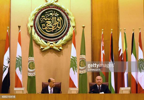 Arab League Secretary General Ahmed AbulGheit and Lebanese President Michel Aoun sit at an Arab League meeting in Cairo on February 14 2017 / AFP /...