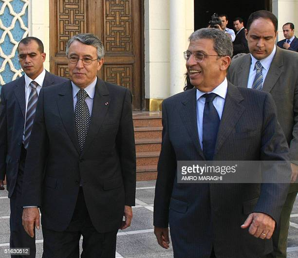 Arab league Secretary General Amr Mussa and Moroccan Foreign Minister Mohamed Benaissa leave 31 October 2004 after holding a meeting in Cairo AFP...