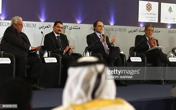 Arab League Secretary General Amr Mussa Lebanese Finance Minister Jihad Azur Mauritanian Prime Minister Zeine Ould Zeidane and Qatari Deputy Prime...