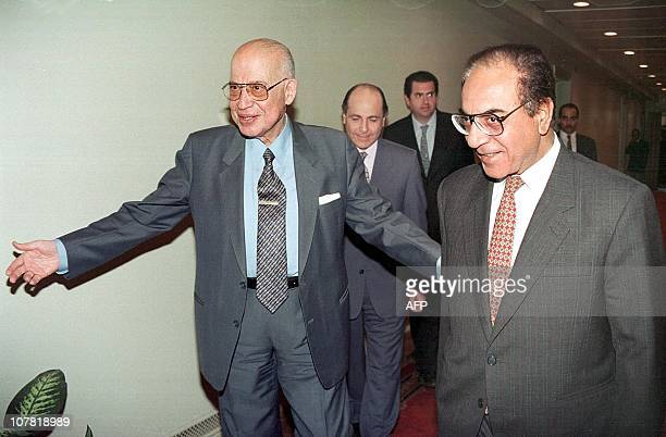 Arab League secretary general Esmat Abdel Meguid greets Iraqi Foreign Minister Mohammed Saeed alSahhaf upon his arrival to the Arab League compound...