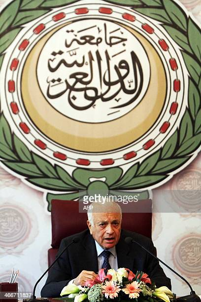 Arab League Secretary General Nabil alArabi speaks during a press conference after he returned from Switzerland where he attended the socalled Geneva...