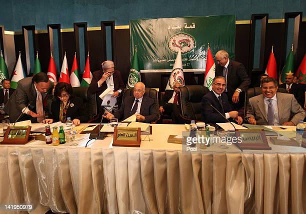 Arab League Secretary General Nabil Elaraby and Libyan Minister of Economy Ahmad alKushali attend the Arab economy finance and trade ministers...