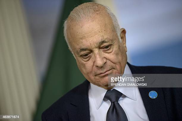 Arab League Secretary General Nabil Elaraby pauses while making a statement to the press during the White House Summit on Countering Violent...