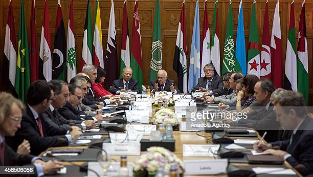 Arab League Secretary General Nabil Elaraby speaks during his meeting with European Parliament delegates at Arab League headquarters in Cairo Egypt...