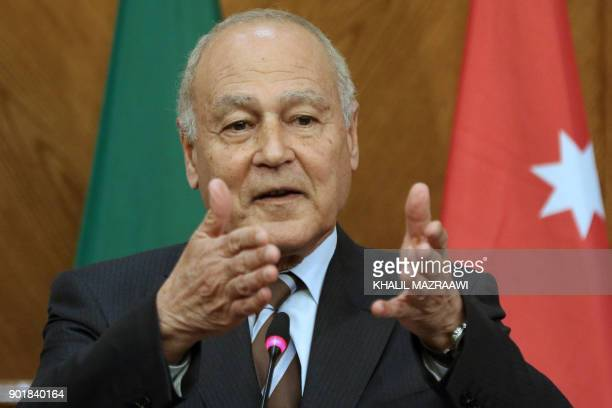Arab League SecretaryGeneral Ahmed Aboul Gheit gestures during a joint conference with Jordanian Foreign Minister Ayman Safadi in the Jordanian...