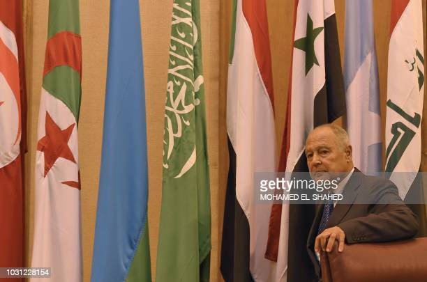 Arab League SecretaryGeneral Ahmed Aboul Gheit looks at a meeting of the member states' foreign ministers at its Cairo headquarters on September 11...