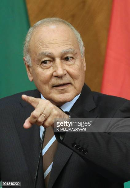 Arab League SecretaryGeneral Ahmed Aboul Gheit speaks during a joint conference with Jordanian Foreign Minister Ayman Safadi in the Jordanian capital...