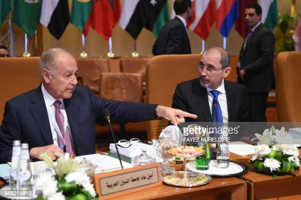 Arab League SecretaryGeneral Ahmed Abul Gheit and Jordanian Foreign Minister Ayman Safadi who chairs the preparatory meeting of Arab Foreign...