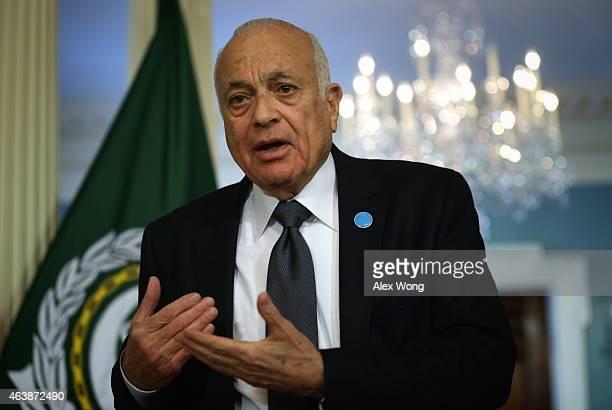 Arab League SecretaryGeneral Nabil Elaraby speaks to members of the media prior to a meeting with US Secretary of State John Kerry February 19 2015...