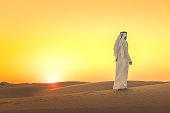 Arab man admiring expansive dunes during sunset
