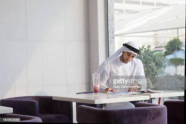arab man  in healthy food restaurant