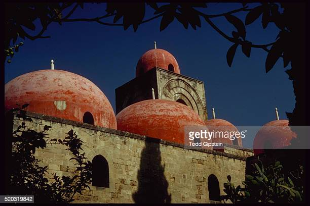 arab mosques on the st. giovanni church in palermo, sicily. - gipstein stock pictures, royalty-free photos & images