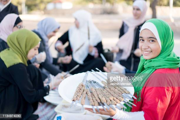 Arab Muslim family on picnic