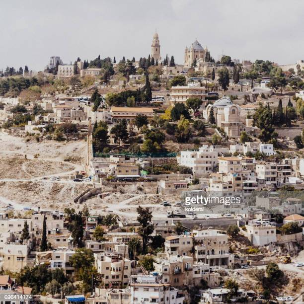 arab neighborhood with view on old city of jerusalem - jerusalem old city stock pictures, royalty-free photos & images