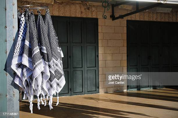 arab palestinian keffiyehs in the west bank - kaffiyeh stock pictures, royalty-free photos & images