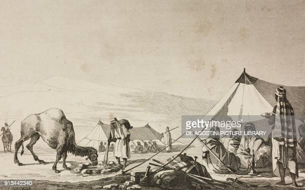 Arab place of rest engraving by Traversier from Arabie by Noel Desvergers avec une carte de l'Arabie et note by Jomard L'Univers pittoresque...