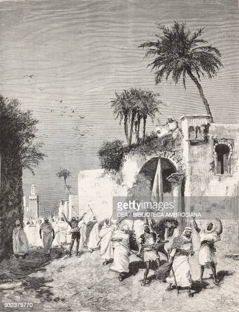 Arab preaching holy war Algeria drawing by Edoardo Matania engraving from L'Illustrazione Italiana No 32 August 7 1881