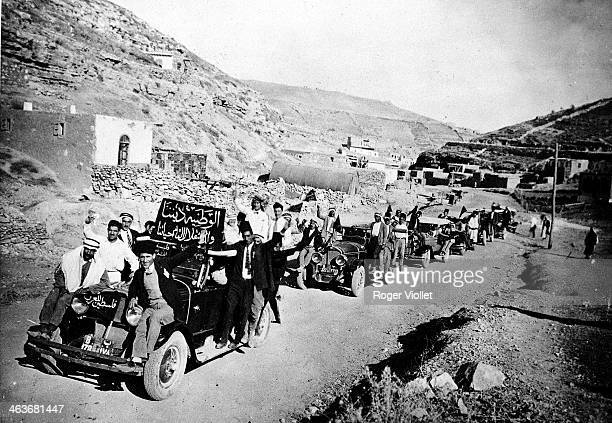 Arab protestors travelling to Amman for a demonstration against the Balfour Declaration of 1917 promising the creation of a Jewish state in Palestine...