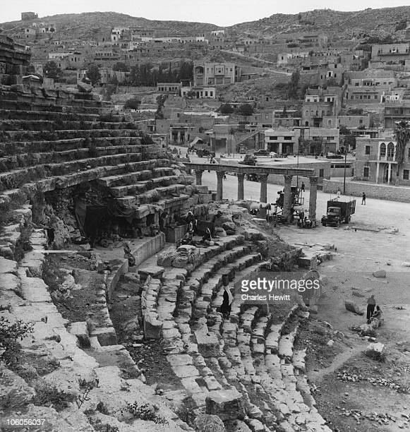 Arab refugees from Palestine set up camp in the Roman Theatre in Amman Jordan 1949 Original Publication Picture Post 4818 Who'll Help The Refugee...