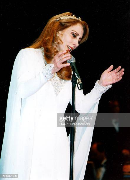 Arab singer Fairouz performs 15 May 1999 at the MGM Grand Hotel in Las Vegas NV Over 12000 people from Latin America Canada and the US and various...