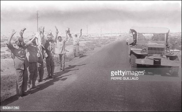 Arab soldiers surrender to Israeli soldiers 13 June 1967 in the occupied territory of the West Bank On 05 June 1967 Israel launched preemptive...