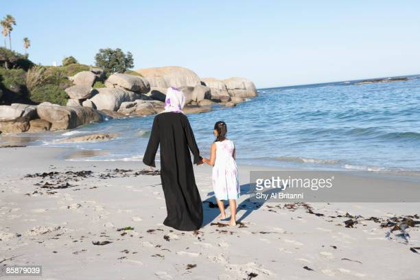 Arab woman and girl holding hands on beach.
