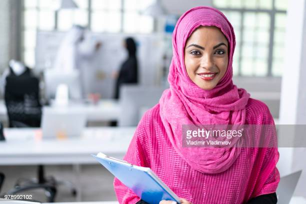 Arab woman working in modern workplace