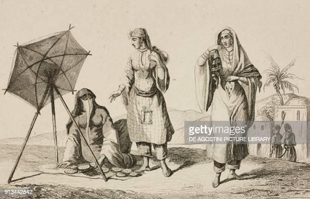 Arab women engraving by Vernier from Arabie by Noel Desvergers avec une carte de l'Arabie et note by Jomard L'Univers pittoresque published by Firmin...