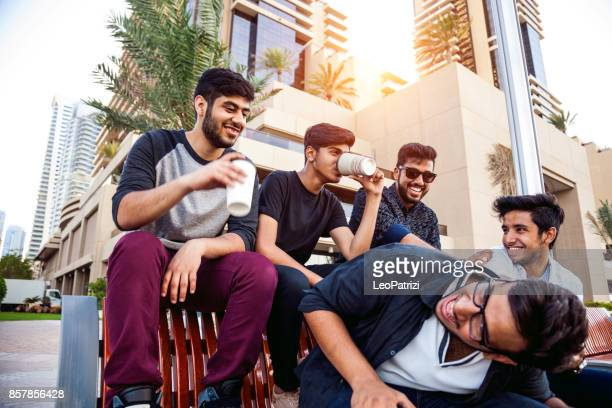 Arab Youth - Group of middle eastern male friends hanging out in Dubai