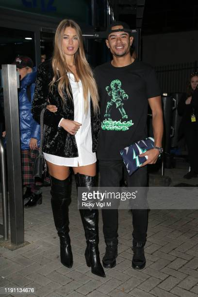 """Arabella Chi and Wes Nelson seen leaving LH2 studios after """"The X Factor: Celebrity"""" on November 30, 2019 in London, England."""