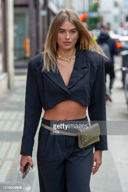 Arabella Chi arriving at the Nasty Gal FT. Emrata collection launch at Busi Cafe on October 07, 2020 in London, England.