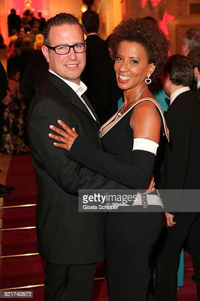 Arabella Kiesbauer and her husband Florens Eblinger during the 27th ROMY Award 2015 at Hofburg Vienna on April 16 2016 in Vienna Austria