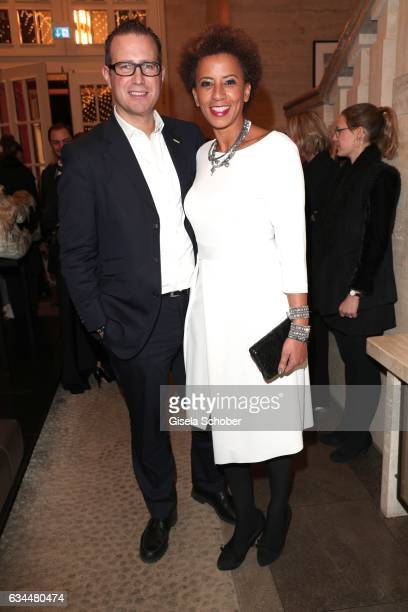 Arabella Kiesbauer and her husband Florian Eblinger during the Berlin Opening Night by GALA and UFA Fiction at hotel 'The Stue' on February 9 2017 in...