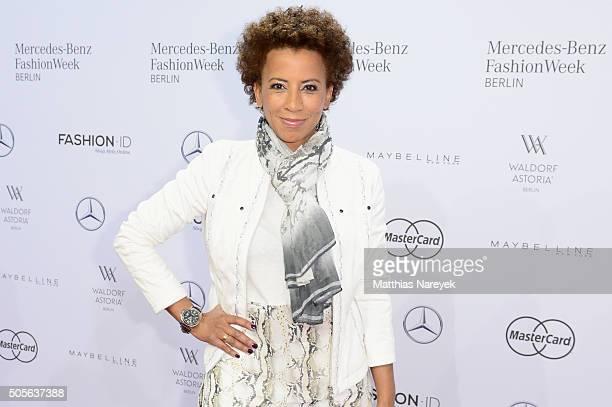 Arabella Kiesbauer attends the Sportalm show during the MercedesBenz Fashion Week Berlin Autumn/Winter 2016 at Brandenburg Gate on January 19 2016 in...