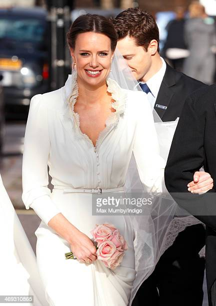 Arabella Musgrave arrives at St Paul's Church Knightsbridge for her wedding to George GalliersPratt on February 8 2014 in London England